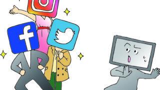 【無料素材】SNSの台頭に焦るテレビのイラスト【商用可・クレジット表記不要】